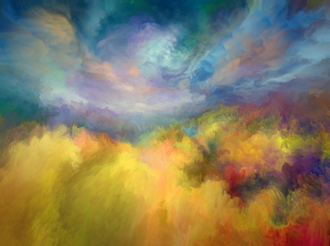 Summer oil painting landscape, impressionism