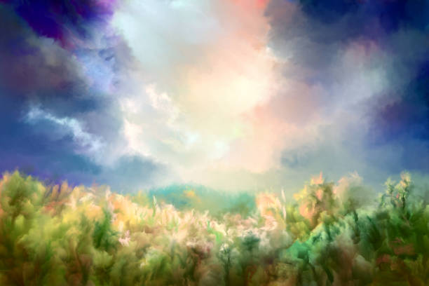 Summer oil painting landscape, impressionism vector art illustration