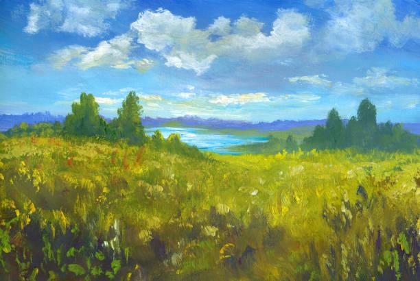 Summer oil painting landscape, impressionism Summer oil painting landscape, impressionism impressionism stock illustrations