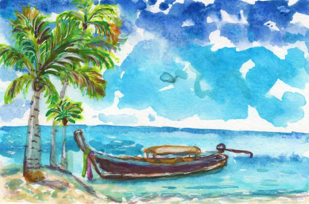 5cd935ce6 Summer Palms Beach Ocean Sea Landscape Boat Turquoise Sky Blue Watercolor  Illustration Лето Пальмы Пляж Океан Море Лодка Бирюзовый Небо Синий  Акварель Stock ...