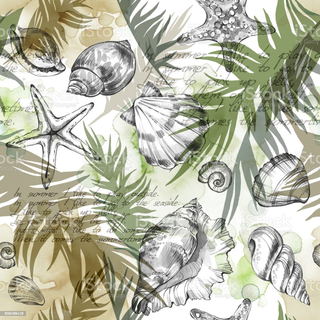 Summer Party holiday background, watercolor illustration. Seamless pattern with sea shells, molluscs and palm leaves. Tropical texture in romantic colors vector art illustration