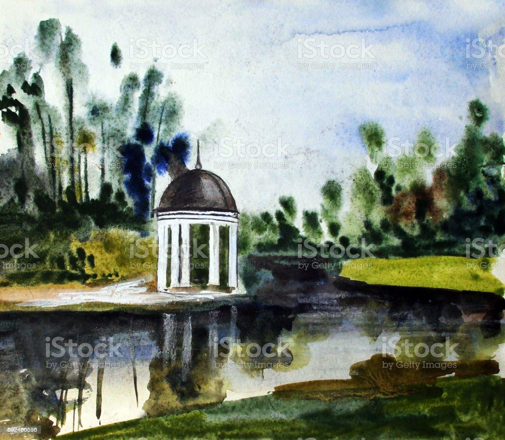 Summer pavilion, watercolor had drawn illustration vector art illustration