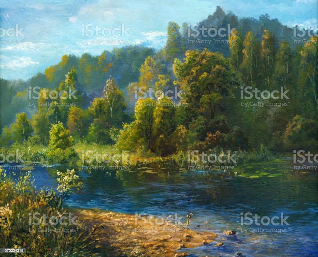 Summer river, oil painting vector art illustration