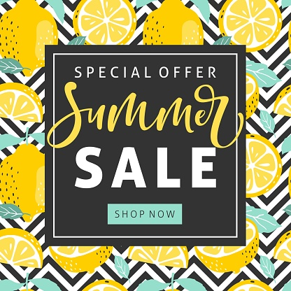 여름 레몬와 손으로 텍스트를 작성 판매 배경 벡터 일러스트입니다 감귤류 과일에 대한 스톡 벡터 아트 및 기타 이미지