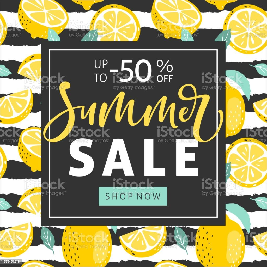 Summer sale background with lemons and hand written text. Vector illustration. royalty-free summer sale background with lemons and hand written text vector illustration stock vector art & more images of abstract