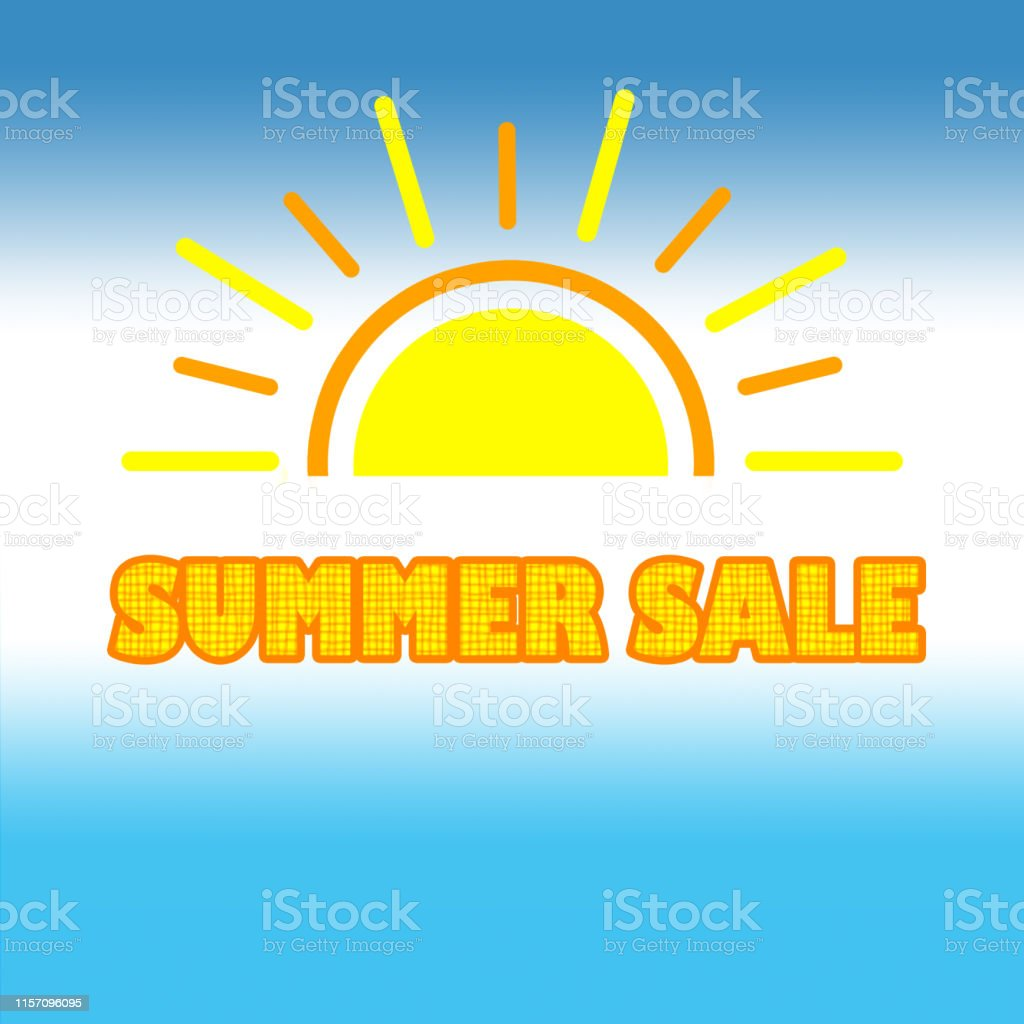 Summer Sale banner for promotion on white blue background.