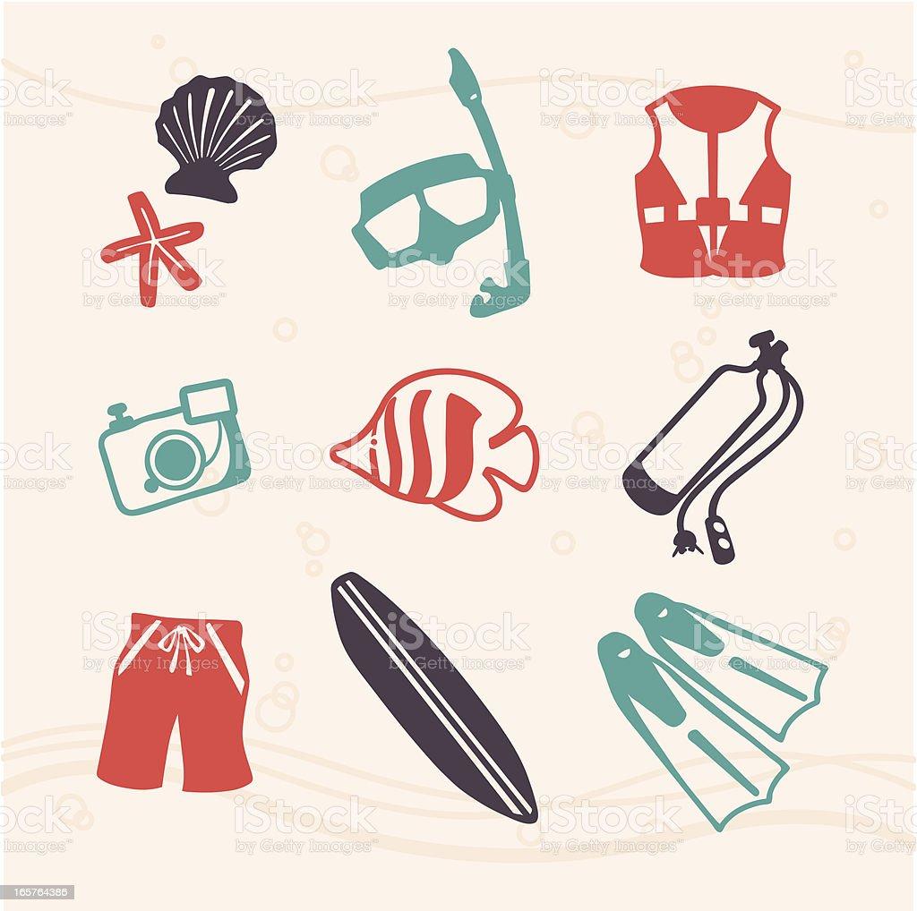 Summer Snorkeling and Scuba Fun Stamp Icon Set vector art illustration