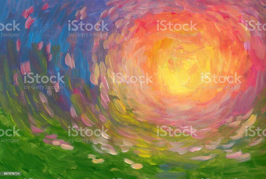 Summer sun peinture à l'huile, impressionnisme - Illustration vectorielle