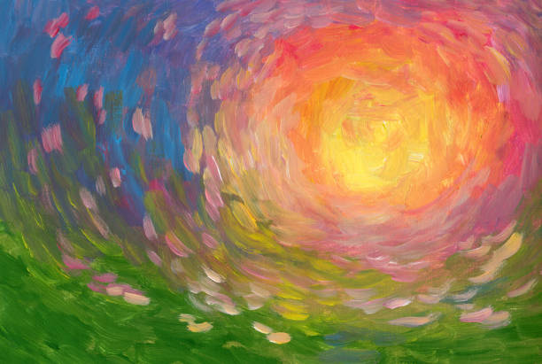 Summer sun oil painting, impressionism Large brush strokes oil painting, art background impressionism stock illustrations