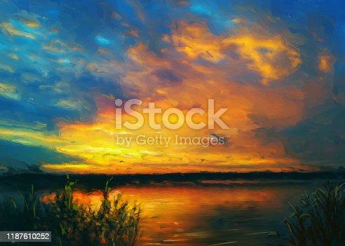 istock Summer sunset, oil painting 1187610252