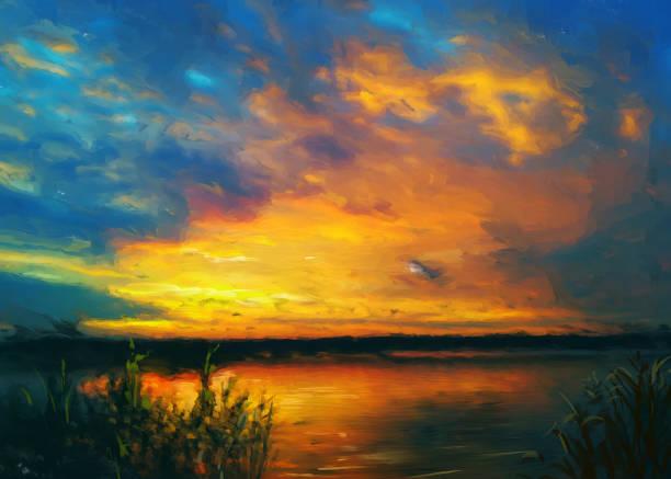 Summer sunset, oil painting vector art illustration