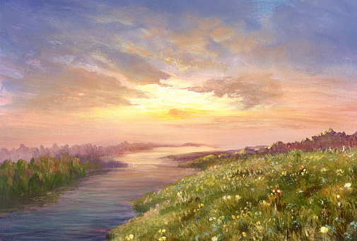 Summer sunset, oil painting