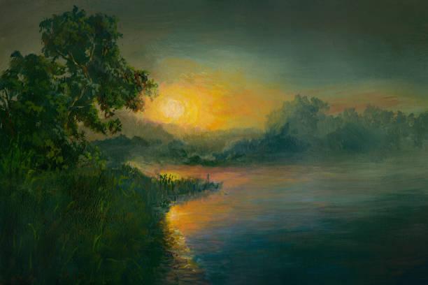 Summer sunset on the river, oil painting vector art illustration