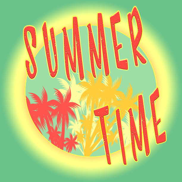 summer time illustration, background. fun quote. vintage fashion the best poster. handwritten banner, logo or label. colorful hand drawn phrase. template apparel, card, t-shirt, stamp. - summer fashion stock illustrations, clip art, cartoons, & icons