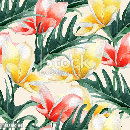 istock Summer tropical flowers and leaves watercolor seamless pattern. 1318150184