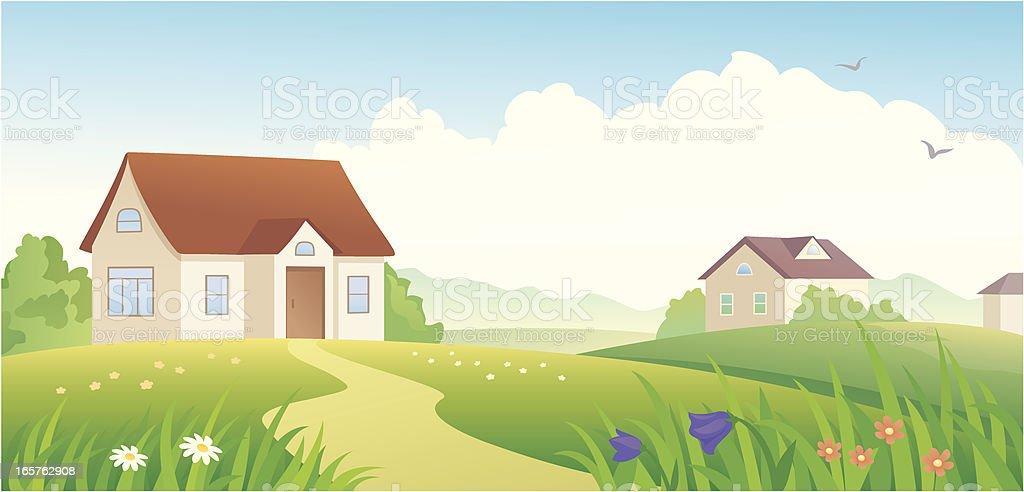 Summer village royalty-free stock vector art