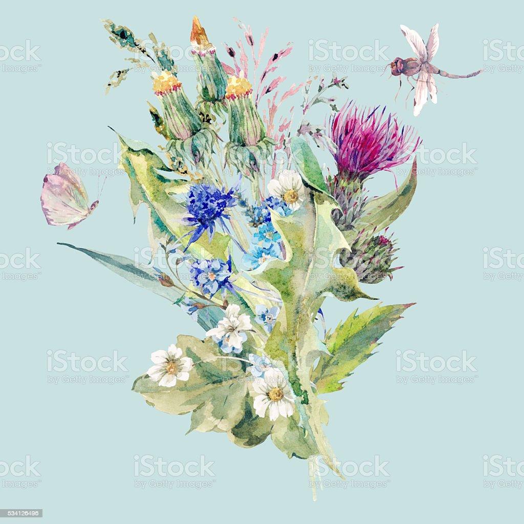 Verão Aguarela Natural Ramo Com Flores Silvestres Arte Vetorial De