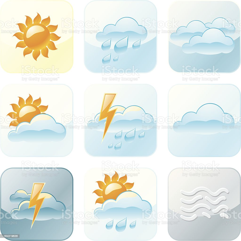 Summer Weather Forecast Icons royalty-free stock vector art