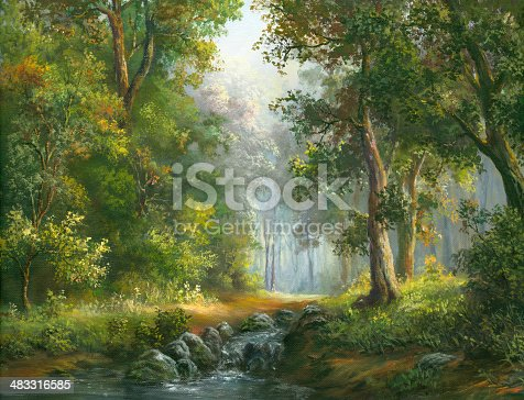 Forest, stream on a sunny summer day. Oil Painting, my own artwork.