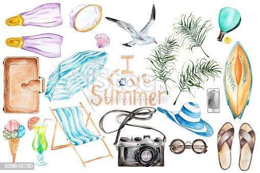 istock Summer`s vacation set. 539649780