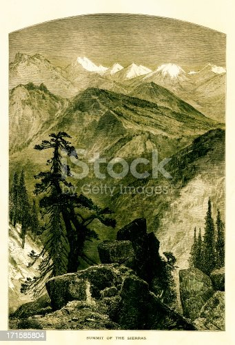 Summit in the Sierra Nevada mountain range located in the U.S. states of California and Nevada. Published in Picturesque America or the Land We Live In (D. Appleton & Co., New York, 1872)