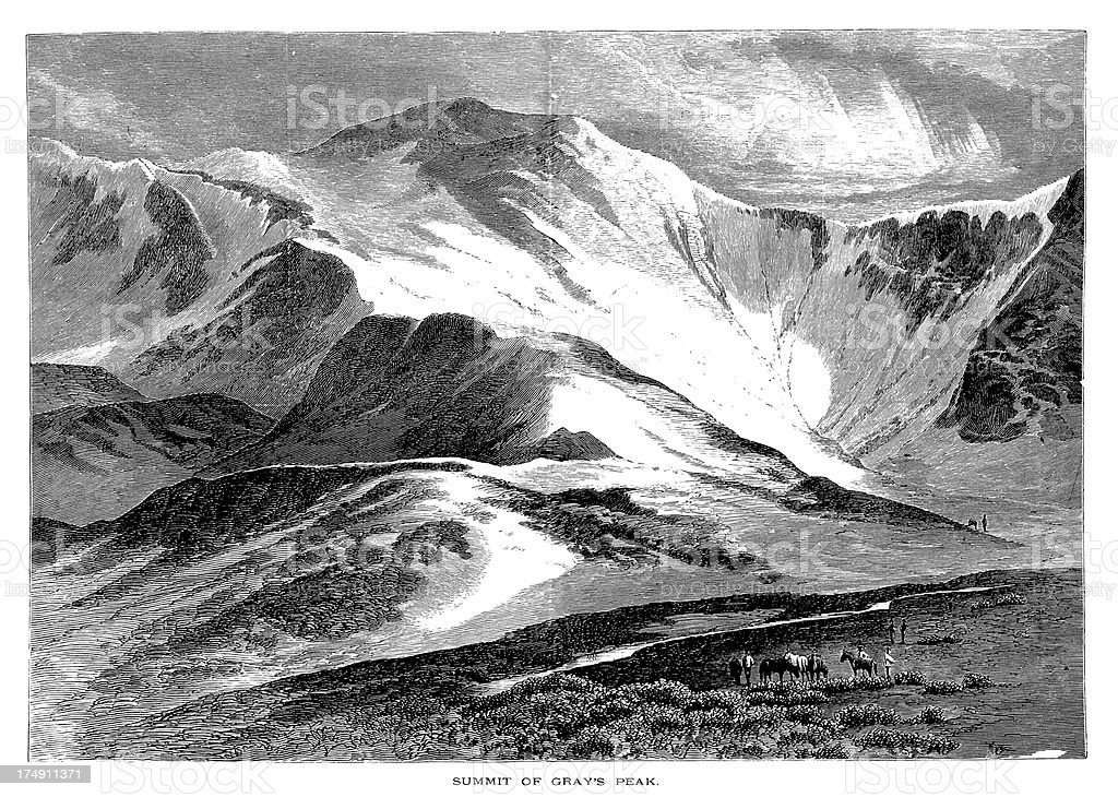 Summit of Grays Peak, Colorado, wood engraving (1872) royalty-free stock vector art