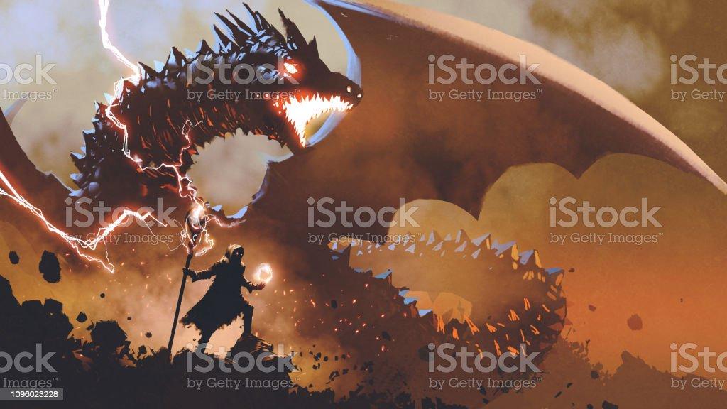 summoning the dragon vector art illustration