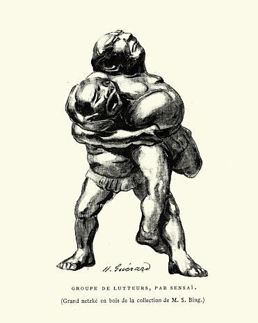 Sumo wrestling, wrestlers grappling, Japanese art