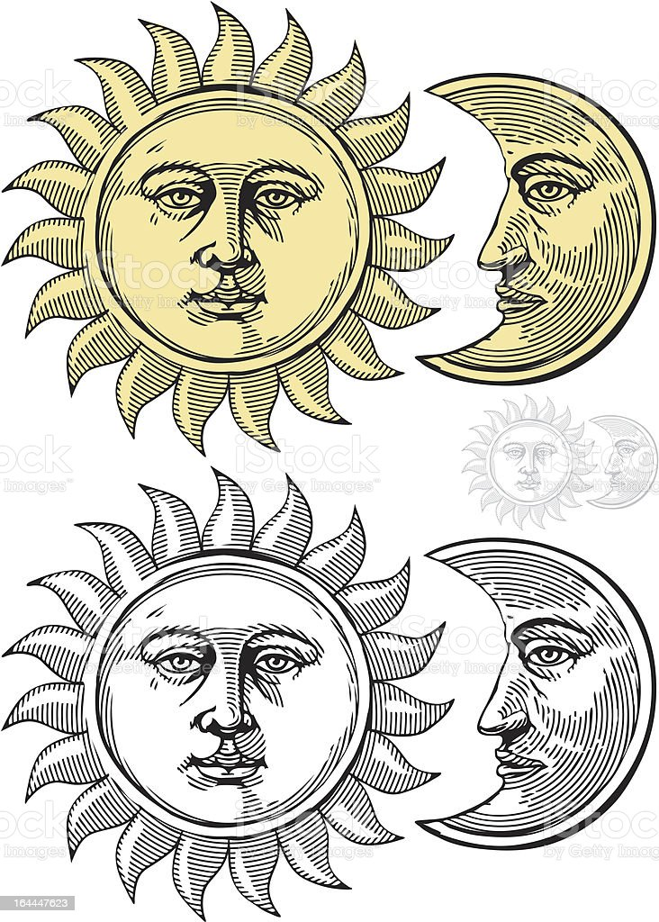 Sun and moon with faces vector art illustration