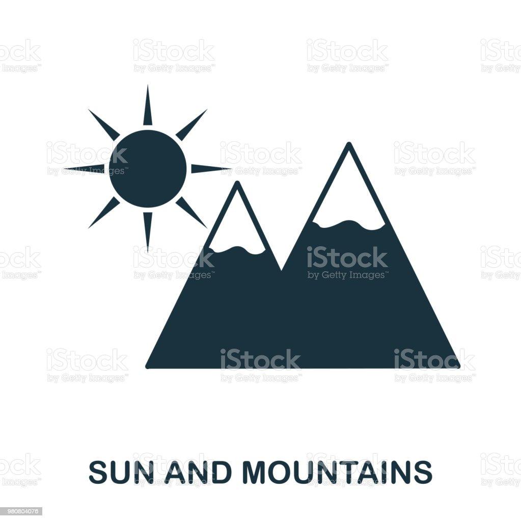 太陽と山のアイコン携帯アプリ印刷web サイトのアイコン単純な要素を歌い