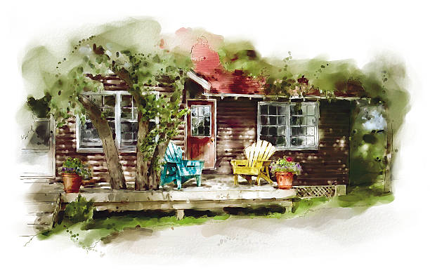 Sun Deck Watercolor illustration of a cabin in the woods muskoka stock illustrations