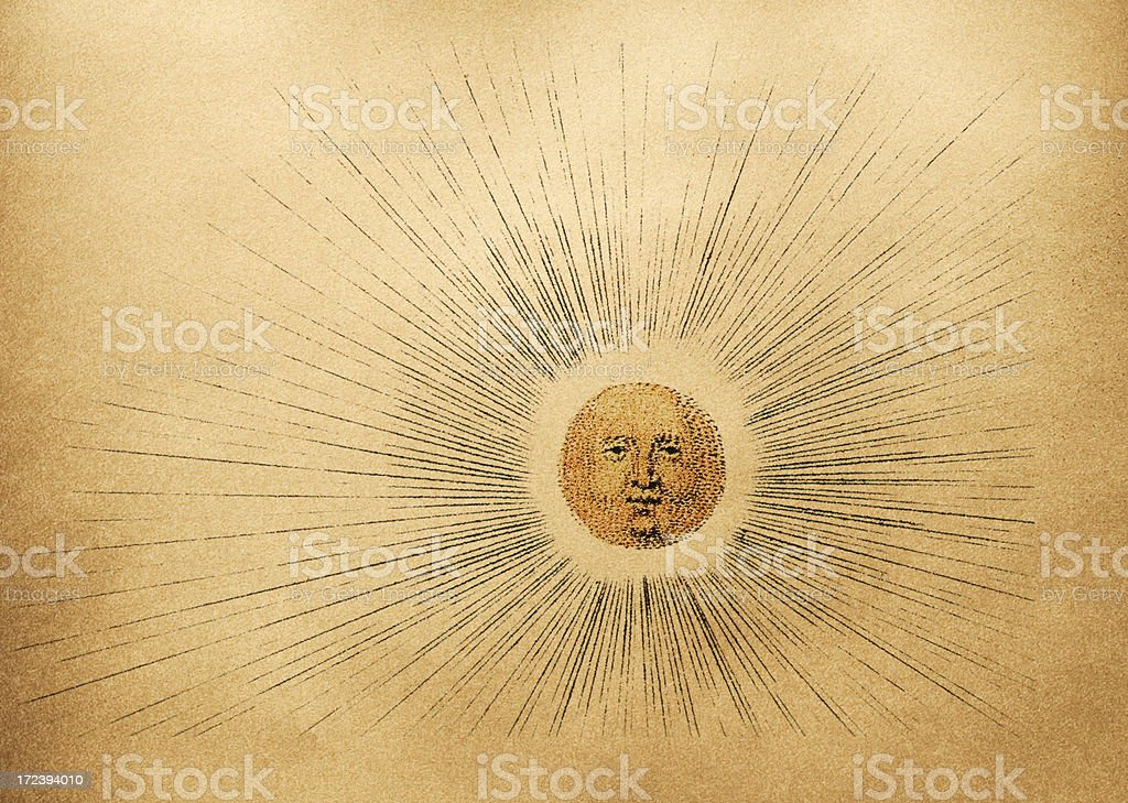 sun from a old map royalty-free stock vector art
