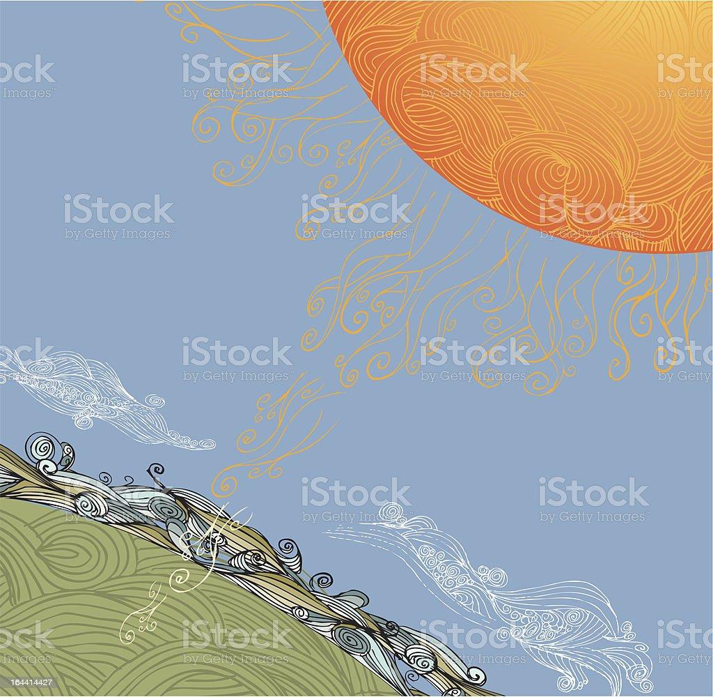 Sun Rays on Earth royalty-free stock vector art