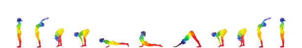 sun salutation A, surya namaskar A sequence, watercolor painting hand drawn design illustration sun salutation A, surya namaskar A sequence, watercolor painting hand drawn design illustration sun salutation stock illustrations