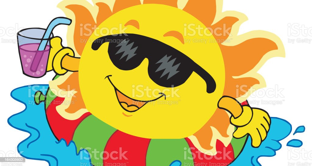Sun with drink in water royalty-free stock vector art