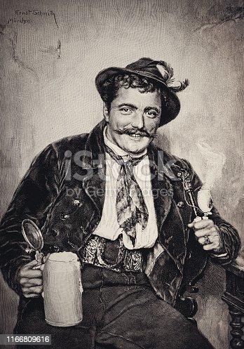 history, vintage, illustration, retro style,  19th Century Style, old, Bavaria, Beer, drinking, Oktoberfest,