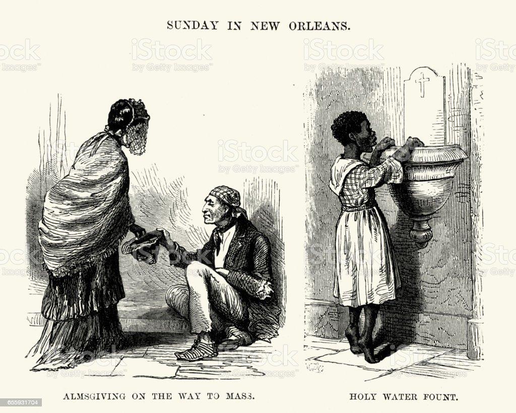Sunday in New Orleans, 19th Century vector art illustration