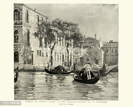 Vintage illustration of Sunday in Venice, Going to the English Church of St Barnabas by gondola, 1895, 19th Century.