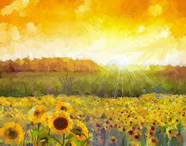 Sunflower flower blossom.Oil painting of a rural sunset landscap Sunflower flower blossom.Oil painting of a rural sunset landscape with a golden sunflower field. Warm light of the sunset and hill color in orange at the background. impressionism stock illustrations