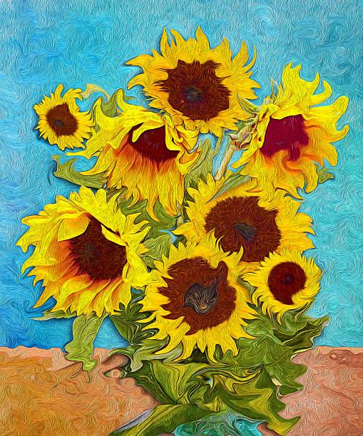 Sunflowers, digital art stylised like imresjonissm painting Sunflowers, digital art like imresjonissm painting impressionism stock illustrations