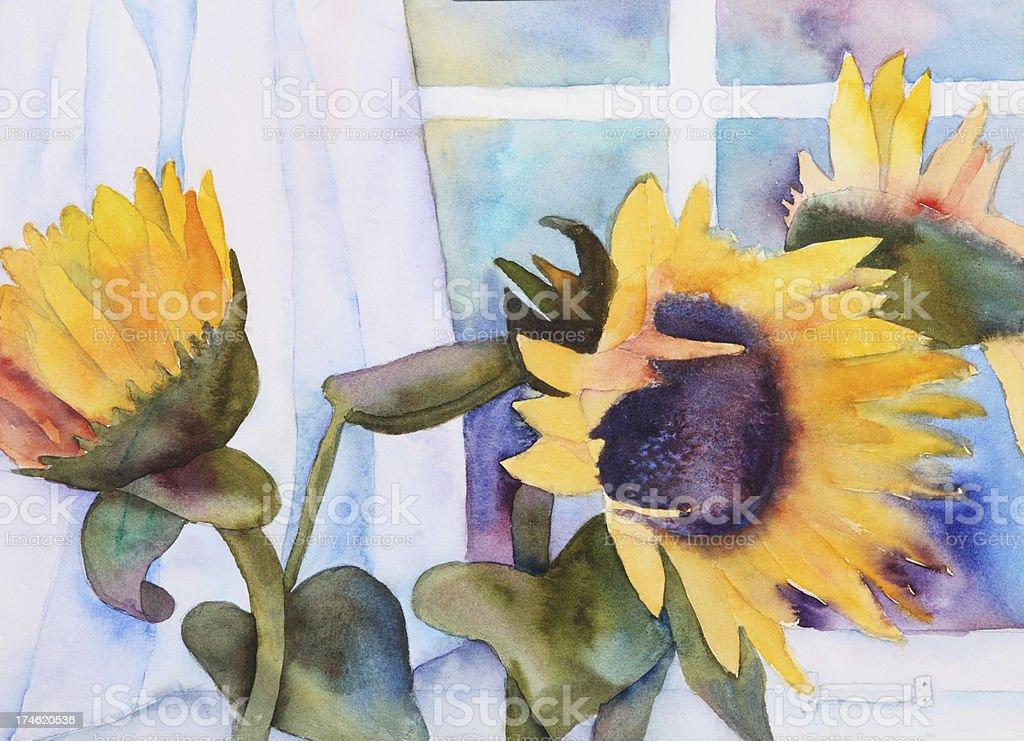 Sunflowers vector art illustration