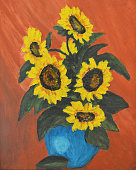 A painting of sunflowers in a blue pot.