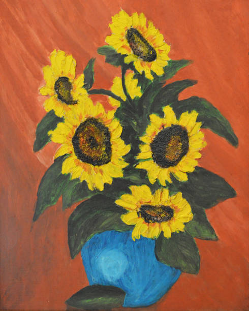 sunflowers in blue pot - oil painting stock illustrations