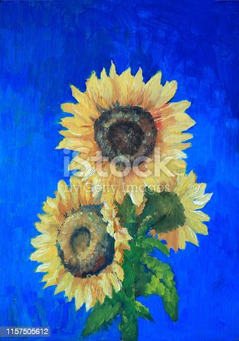 sunflowers painted with oil on a blue background in the style of impressionism