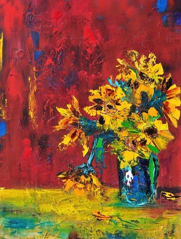 Sunflowers Still Life Contemporary Art Painting