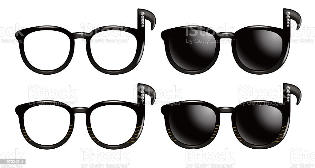 Sunglasses in the form of notes symbols. vector art illustration