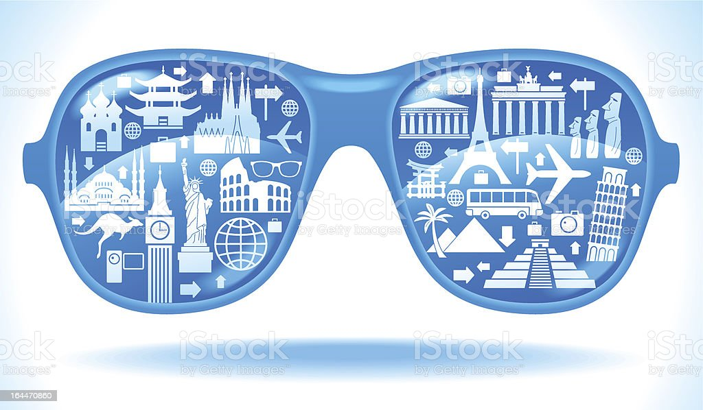 Sunglasses with travel icons royalty-free stock vector art
