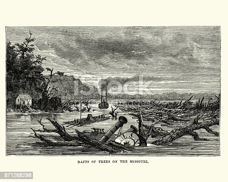 Vintage engraving of a Sunken paddleboat and raft of trees Missouri river, 19th Century