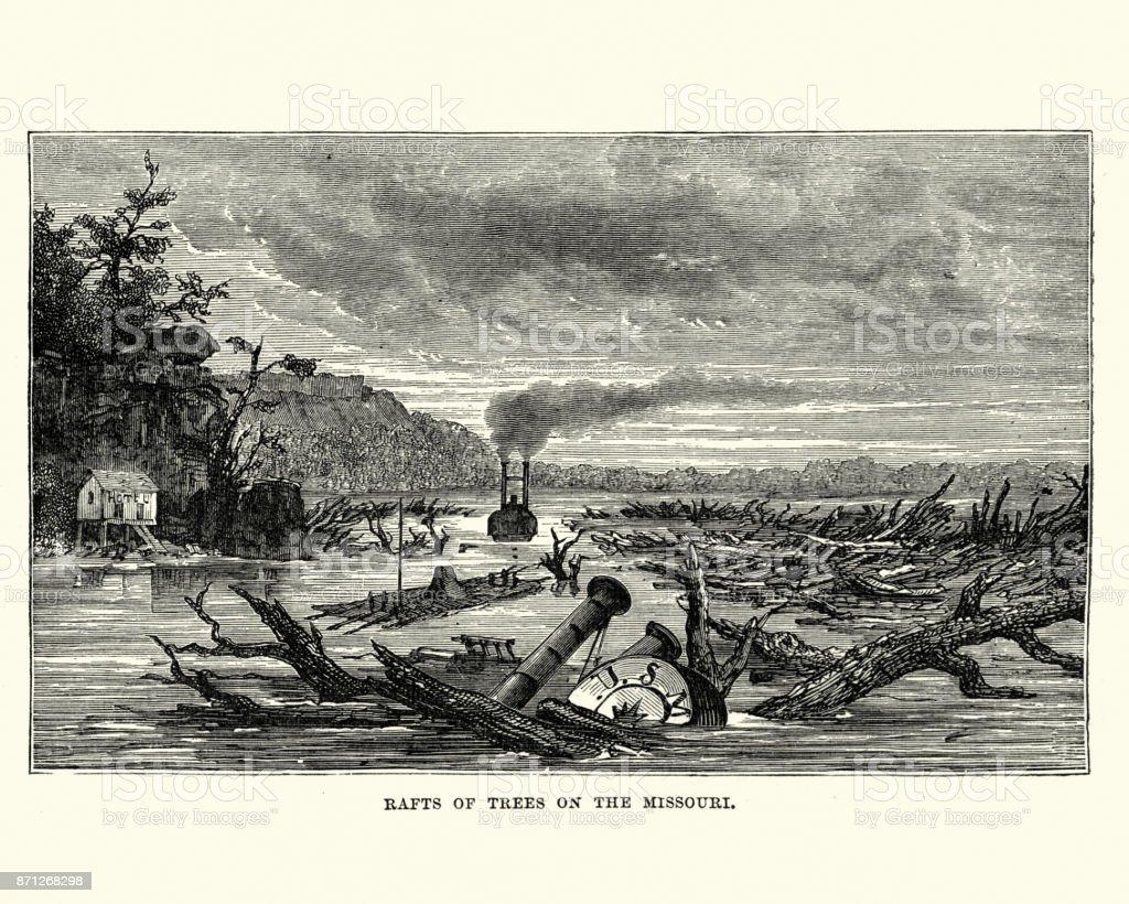 Sunken paddleboat and raft of trees Missouri river, 19th Century vector art illustration