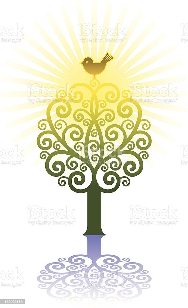 Sunlit ornate tree royalty-free stock vector art
